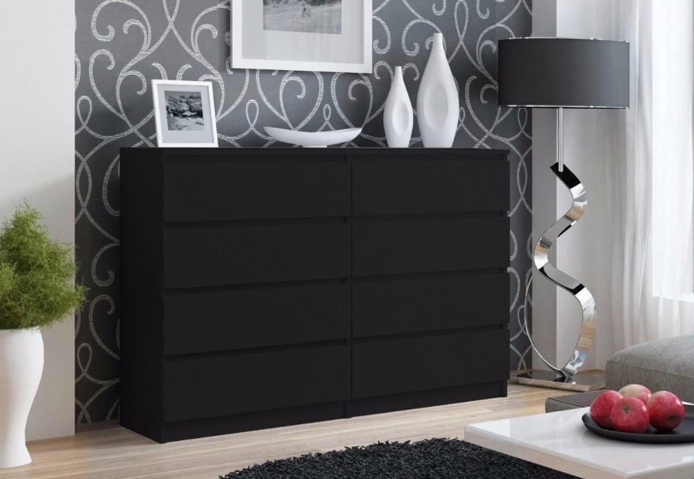 Moderna Black - 8 Drawer